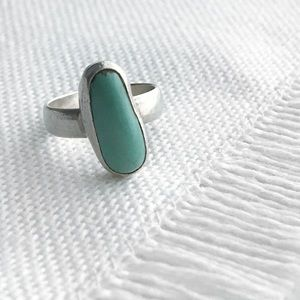 Vintage NATIVE Turquoise & Sterling Ring Seafoam 4